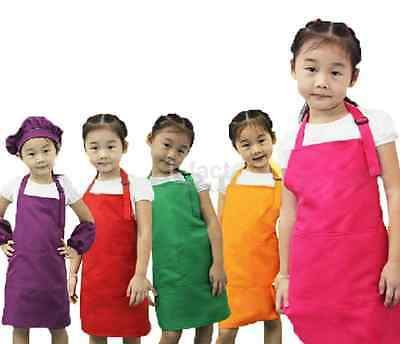 Adjustable Plain Apron Pocket Children Waiter Painting Kitchen Cook Craft Bib
