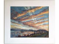 Striking genuine painting titled 'Falmouth Harbour Sunset, Cornwall' by Anne Plummer