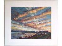 Original Acrylic Painting titled 'Falmouth Harbour Sunset, Cornwall' by Anne Plummer