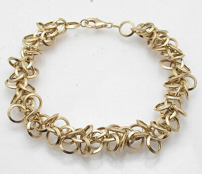 Multi Rolo Circle Charm Link Bracelet Real 14K Yellow Gold ALL SIZES FREE SHIP