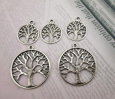 Tibetan Silver Pretty Large/Small  Life Tree Charms Beads Jewelery Pendants - Small Charms