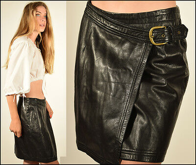 Vtg 90s buttery black LEATHER minimalist BERGDORF GOODMAN buckle mini wrap skirt