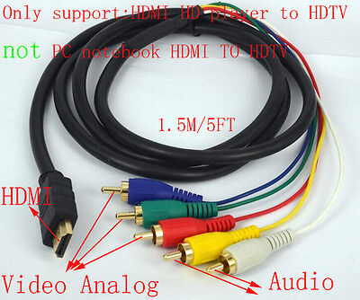 HDMI to 5 RCA Male Audio Video Component Convert    Cable    For    HDTV    TV BOX 1080P DVD 190191102031   eBay