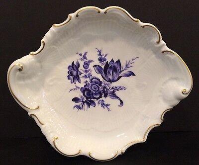 VTG Richard Ginori Savona White Porcelain Scalloped Dish Plate Blue Floral Italy