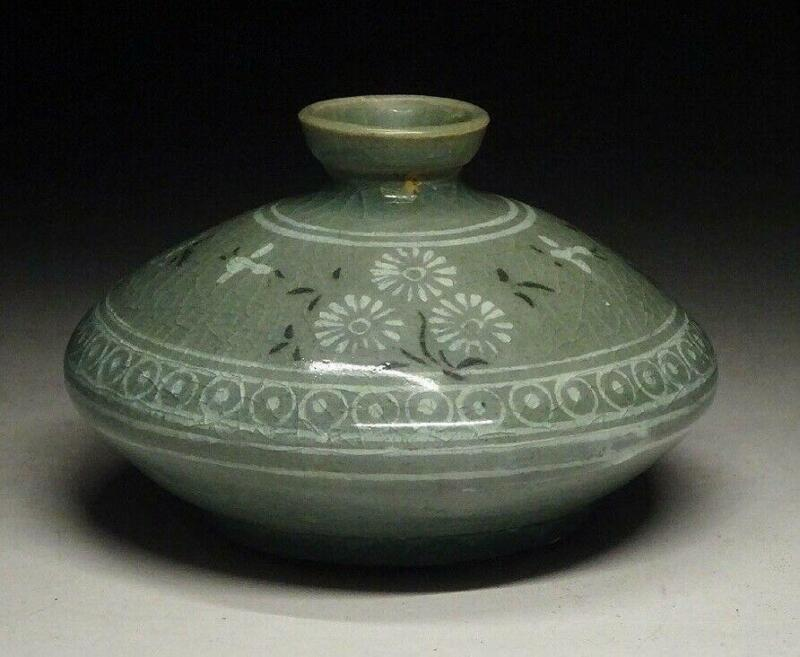 Korean Goryeo Joseon Dynasty Inlaid Oil Pot / W 9.5[cm]