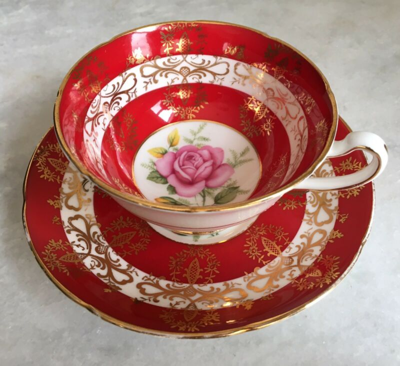 Vintage Red Royal Grafton England Red With Pink Rose Teacup Made In England