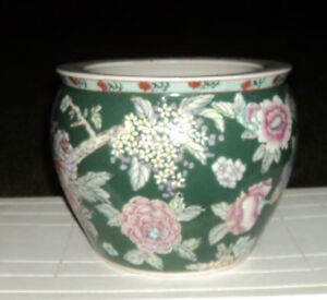 Large Ceramic Planter with green and pink decor     Sussex