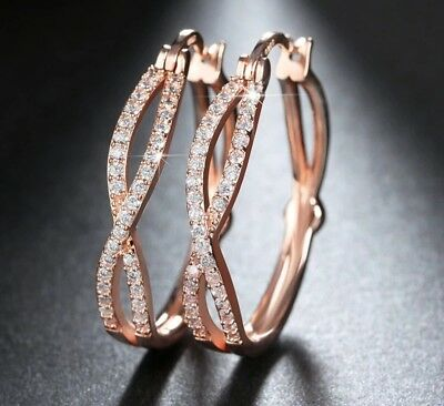 Exquisite rose gold plated cubic zirconia crossover 1 inch hoop earrings (1 Inch Gold Hoop Earrings)
