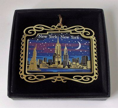 New York City Skyline at Night Christmas Ornament Black Leatherette Gift Box - Gift Boxes Nyc