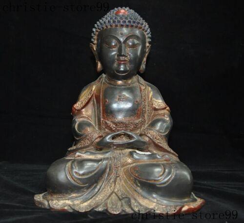 "13""Old Tibet temple bronze Gilt sit Shakyamuni Sakyamuni Tathagata Buddha Statue"