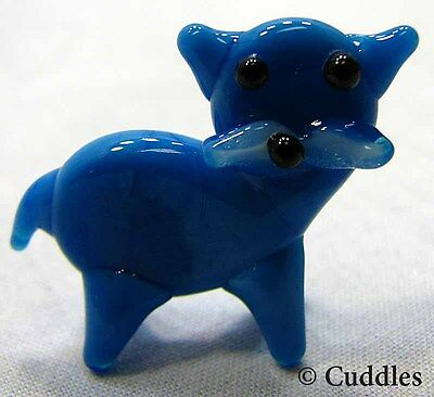 Blue Cat Mini Glass Standing House Kitty Meow Purr Ganz Tiny Blown Small New
