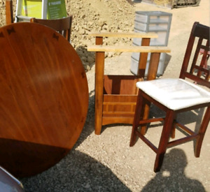 High seat wood Table and chairs