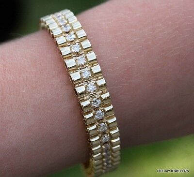 10ct Diamond Link Tennis Bracelet 14kt Yellow Gold Ideal cut 40gm Ladies Mens
