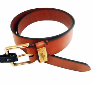 NEW Polo Ralph Lauren Mens Plated Brown/Tan Leather Belt Windsor Region Ontario image 1