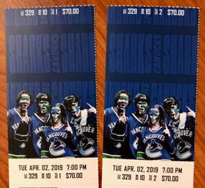 Canucks vs. San Jose Sharks Tues. Apr. 2nd - BELOW FACE VALUE!