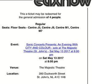 For Sale: 4 City and Colour tix for Sat May 13th 2017 8pm