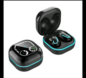 Sleek black Wireless Bluetooth Earbuds With Charging Case New