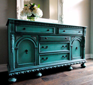 Hand painted antique sideboard