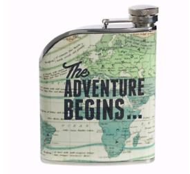 Adventure Awaits 6oz stainless steel hip flask
