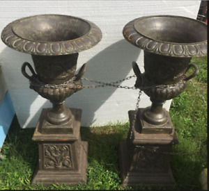 "Pair 20"" ORNATE CAST IRON Urns or w/ Pedestals Free Delivery"