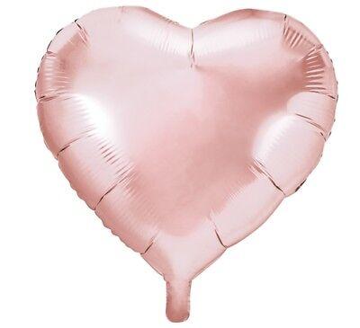2 Stk Luftballon HERZ rose gold Ballons 60cm Folienballon Hochzeit Herzform rosa ()