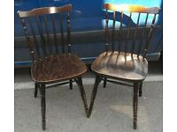 Pair Of Dark Stained Stick Back Dining Chairs Waiting To Be Painted (A29-22)
