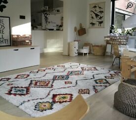 Bowe High Pile Moroccan Diamond Cream Rug selling at £50