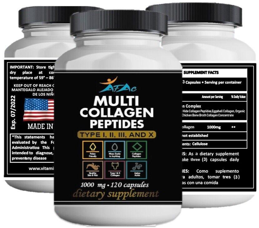 Multi Collagen Peptide protein 120 Caps 100o mg Type I,II,III,X Anti-Aging keto  3