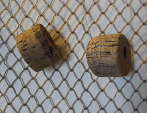 Authenic Vintage Real Antique Used Fishing Net With 5 Old Buoys Floats 4