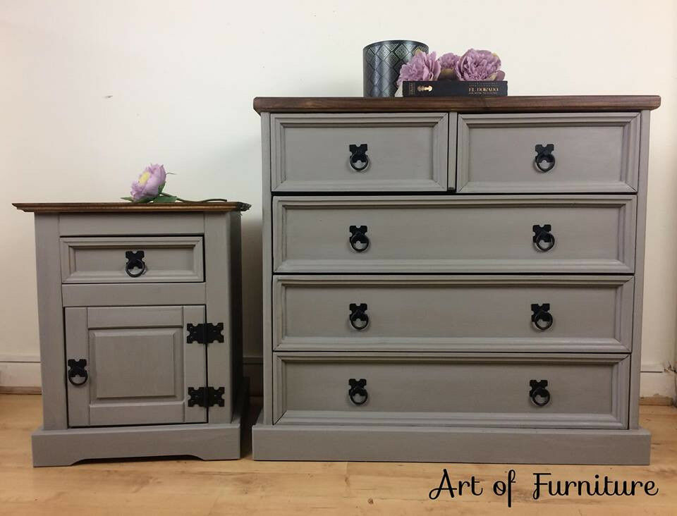 Mexican Pine Chest Of Drawers Bedside Table Hand Painted In Annie Sloan French Linen Chalk