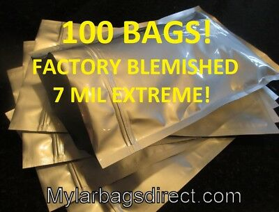 2nds 100 - 10x16, HD 7 mil Zipper Mylar Foil 1.5 Gallon Food Storage Bags