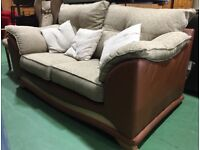 Leather fabric two seater sofa brown cream