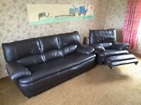 LEATHER SUITE COMPROMISING OF 3 SEATER SOFA AND RECLINER CHAIR