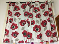 Household Furniture Window Red Flower White Women Curtain From Pet Free Home