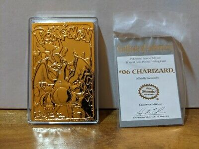 POKEMON 23K GOLD PLATED #06 CHARIZARD TRADING CARD W/ AUTHENTICATION NEAR MINT