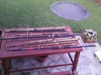 10 antique fishing rods