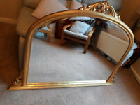 Antique style gold leaf overmantle mirror