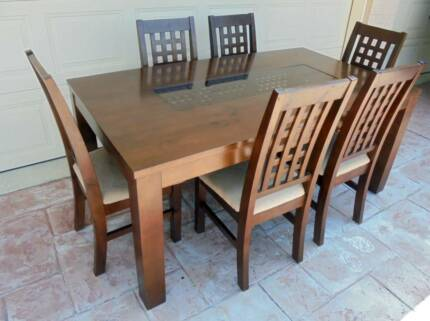 Wooden 1.8m Long Dining Table and 6 x chairs