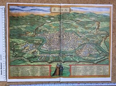 Old Colour Map of Rome, Italy: 1572 by Braun & Hogenberg REPRINT 1500's
