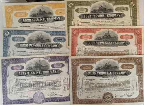 Bush Terminal Company. Set of 6 Stock Certificates