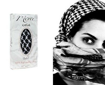 Palestinian Scarf - Authentic Keffiyeh Kufiya Shemagh Palestinian Head Scarf Black White 100% Cotton
