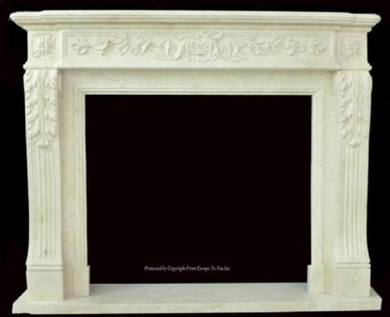 BEAUTIFUL HAND CARVED MARBLE EUROPEAN DESIGN MARBLE FIREPLACE MANTEL Z97