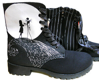 Ladies DISNEY NIGHTMARE BEFORE CHRISTMAS Jack & Sally blk BOOTS Sz- 5  - 6 - - Nightmare Before Christmas Boots