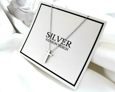 Tiny Faith Cross 925 Sterling Silver SP Pendant Chain Necklace Faith Pendant Necklace