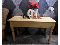 Beautiful Shabby Chic Rustic Vintage Pine Console Side Dressing Table - Uk Delivery