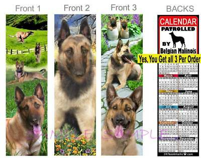 3 Lot BELGIAN MALINOIS 2019 CALENDAR BOOKMARK German Shepherd Mix ART Dog Card Belgian Malinois German Shepherd