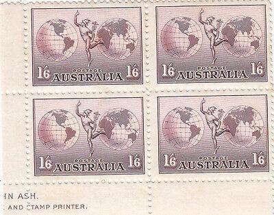 Stamps Australia 1/6 Hermes perf 11 Ash part imprint block of 4 MUH, (Ash Tone Block)