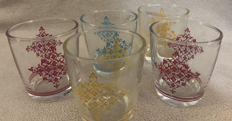 5 Vintage Hazel Atlas Lace Design 1/2 pint Sour Cream Glasses Retro