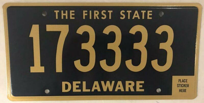 Delaware Quadruple 3 digit license plate repeating number 3333 Triple 333 DE Del