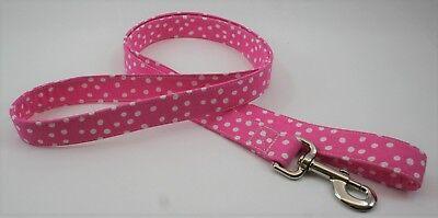 Polka Dot Pink & White Dog Lead Leash Handmade Custom Designer